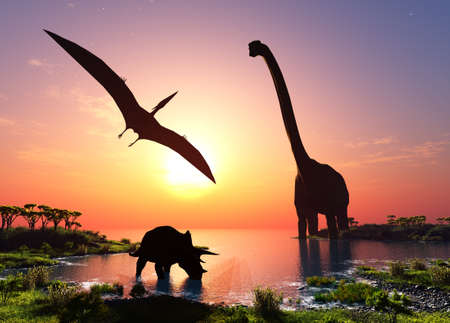Giant dinosaur in the background of the colorful sky., 3d render Zdjęcie Seryjne