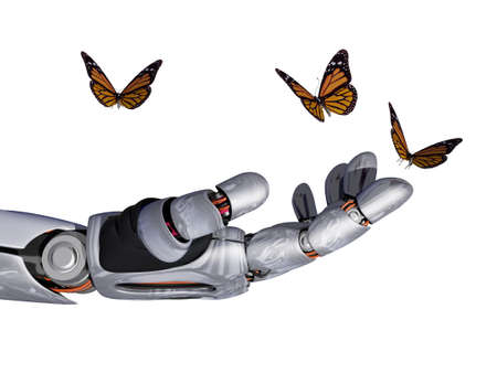 The mechanical arm and a butterfly., 3d render