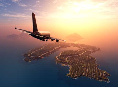 Passenger airplane over the landscape., 3d render