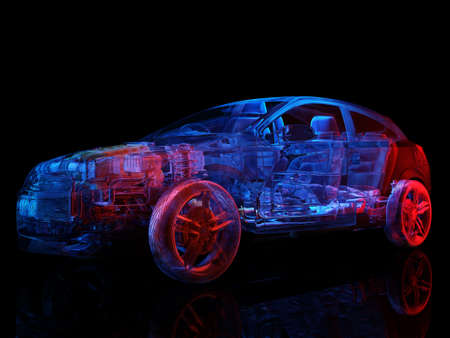 Model cars on a black background., 3d render Zdjęcie Seryjne