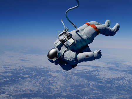 Astronaut in space above the clouds of the Earth.3d render Zdjęcie Seryjne