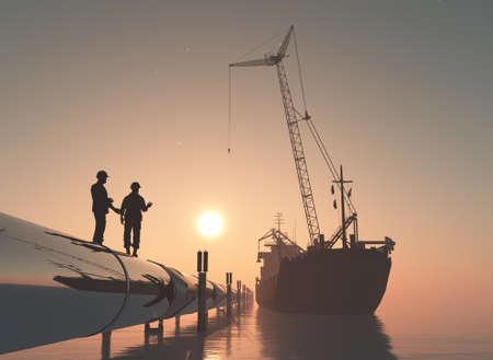 Pipeline in the sea. , 3d render