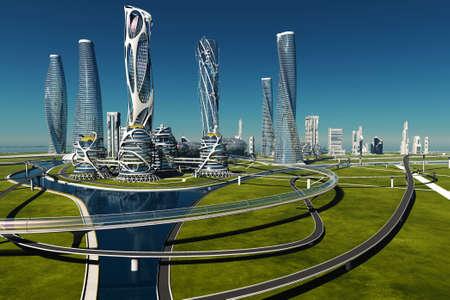 Top view of the city..3d render Zdjęcie Seryjne