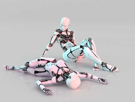 Cyborgs on a mirror surface., 3d render