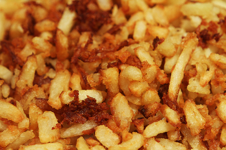 deep fried: French Fries deep fried in cooking oil Stock Photo