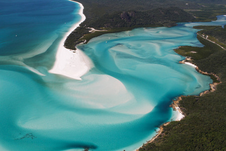 whitehaven beach: Hill Inlet, Whitsunday Island at the tip of Whitehaven Beach, Queensland, Australia. Aerial View