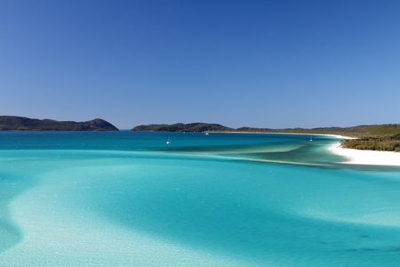 Northern end of Whitehaven Beach with Hill Inlet in the foreground, Whitsunday Island, Queensland, Australia Stock Photo