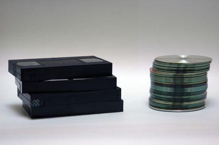 vhs vs cd Imagens