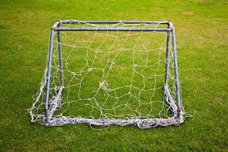 Small goal with damage net and green grass photo