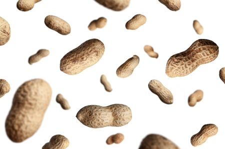 peanuts falling down. top view. selective focus Stock Photo