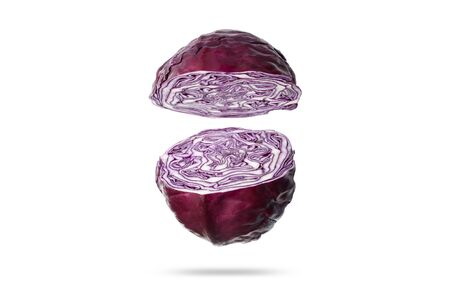 cutaway purple cabbage on a white background.