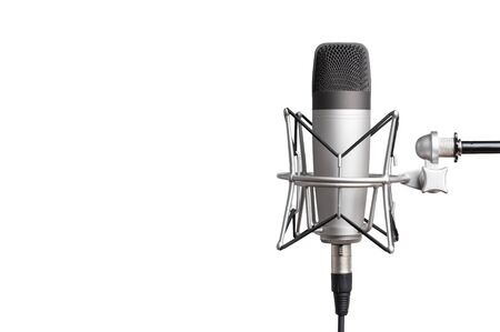 professional studio condenser microphone for voice recording on a white background. isolated on white background.