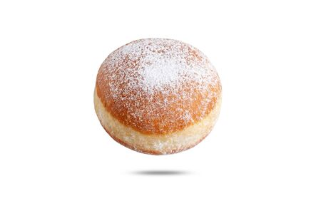 fresh donut sprinkled with powdered sugar. isolate on white background.