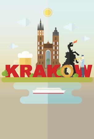 Most famous symbols of Krakow: cathedral, beer, dragon, krakow roll Illustration