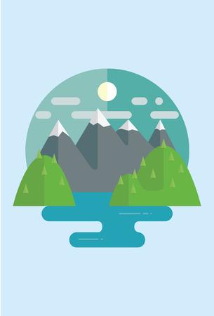 slopes: Flat landscape with mountain lake