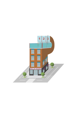 Building with pool on the roof Illustration