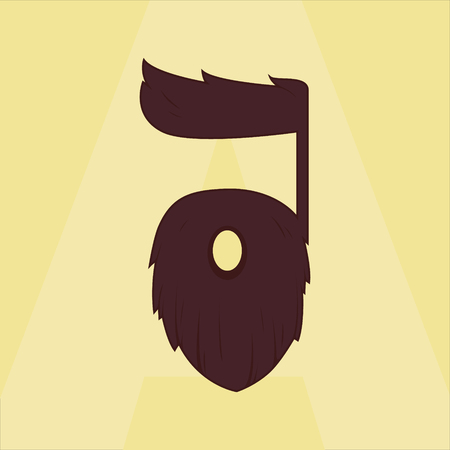 alfabet: stylized letter A for hair and beard