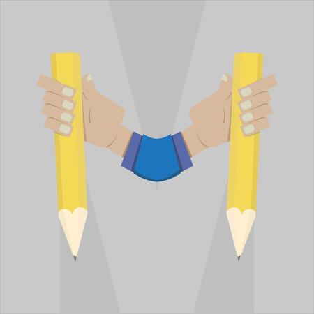 stylized letter M with pencil in hand Zdjęcie Seryjne - 44656881