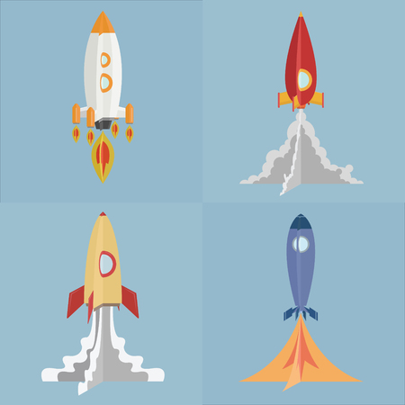vector illustration of a business start-up rockets space exploration flat style design Ilustracja