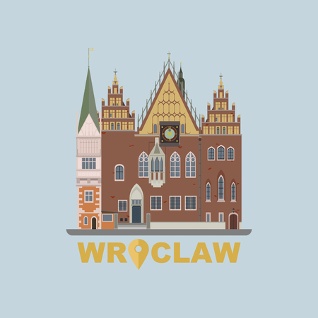 town hall: Flat modern vector of Wroclaw Town Hall