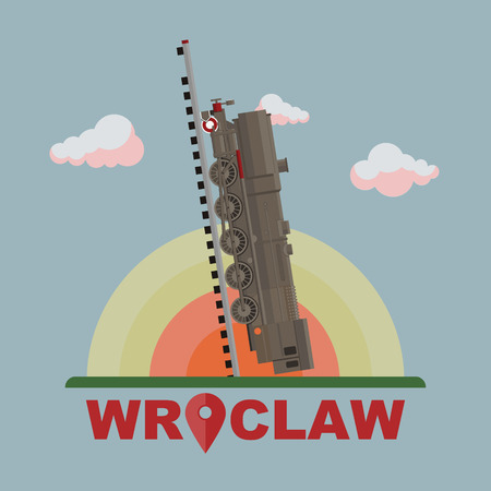 wroclaw: Flat modern vector of Wroclaw train to sky
