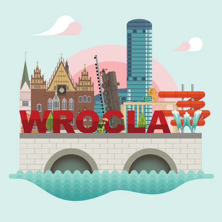 aqua: Flat modern vector of Wroclaw with city-hall, train, zoo, aqua park
