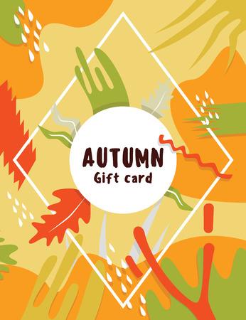 september: Flat modern september autumn card with autumn leaves Illustration