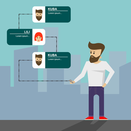 caller: Mobile communication in city, flat vector illustration