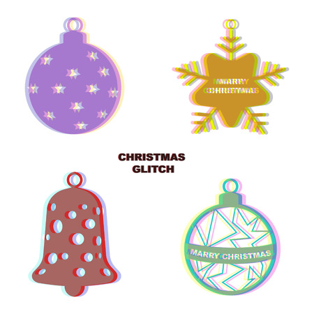 glitch: Christmas glitch art decoration isolated on white background. Snowflake, bell, ball.