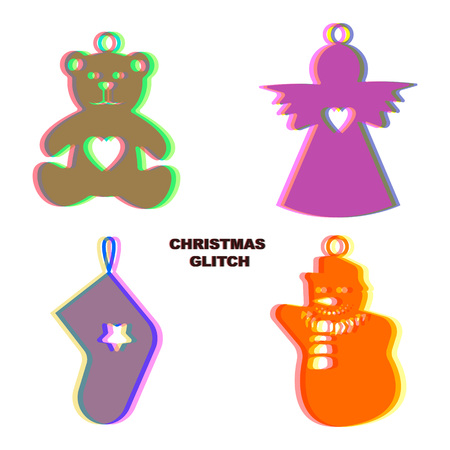 glitch: Christmas glitch art decoration isolated on white background. Angel, socks, bear, snowman