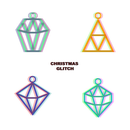 glitch: Christmas glitch art decoration isolated on white background. geometric figures, hexagon, triangle, diamond