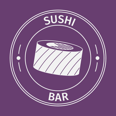 oriental background: Simple flat round sushi bar icon on purple background Illustration