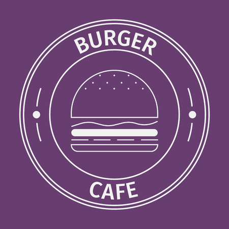 american background: Simple flat round burger cafe icon on purple background
