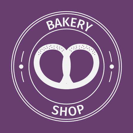 background coffee: Simple flat round bakery shop icon on purple background