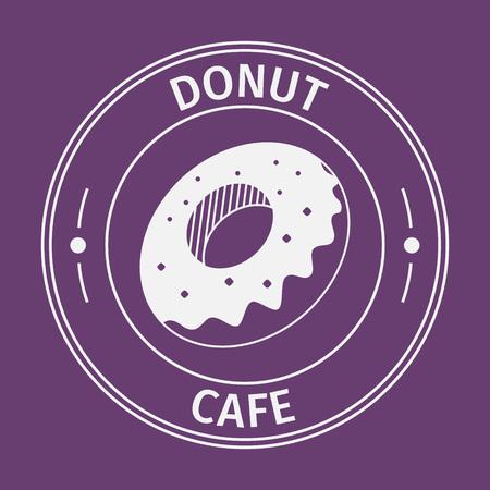 background purple: Simple flat round donut cafe icon on purple background Illustration