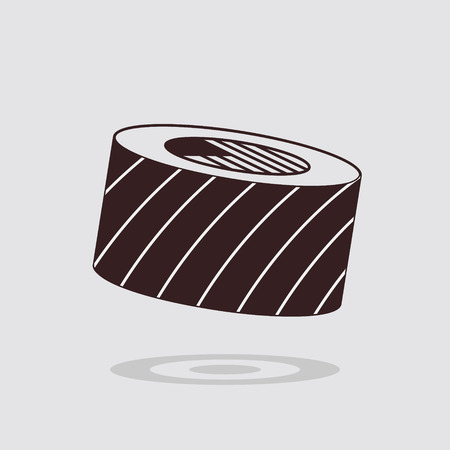 brown rice: Simple flat sushi roll icon on gray background
