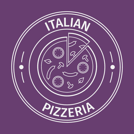 banner background: Simple flat round italian pizzeria icon on purple background