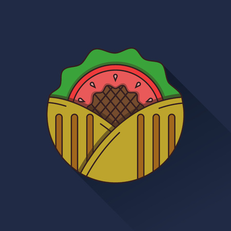 eating fast food: Flat color design vector kebab icon on dark blue background. Long shadow design