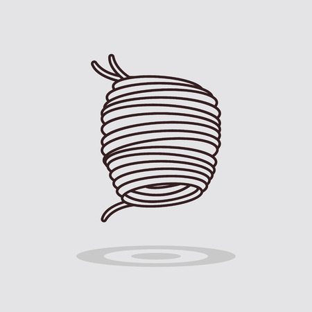 grijze achtergrond: Simple flat spaghetti icon on gray background