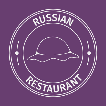 russian cuisine: Simple flat round russian restaurant icon on purple background