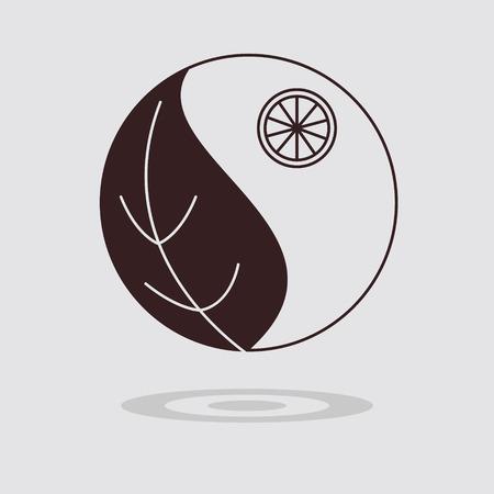 flat leaf: Simple flat leaf icon on grey background