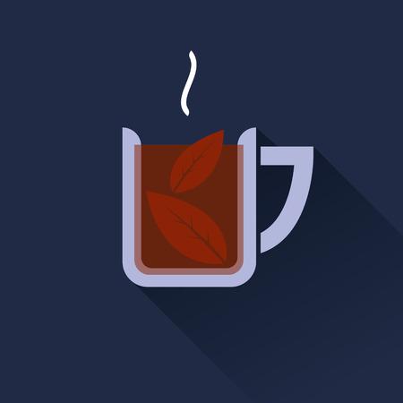 tazza di th�: Piatto disegno vettoriale tazza di t� icona di colore su sfondo blu scuro. Progettazione lunga ombra
