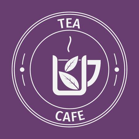 tea leaf: Simple flat round tea cafe icon on purple background