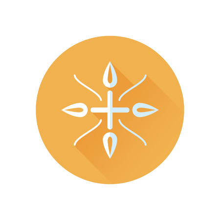 homeopathy: Alternative medecine round icon with cross and leaves .Concept of eco medicines, bio supplements, homeopathy with long shadow effect. Isolated on white background. Flat modern vector illustration Illustration