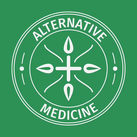 Alternative medecine icon with cross and leaves .Concept of eco medicines, bio supplements, homeopathy with long shadow effect. Isolated on green background. Flat trendy modern vector illustration