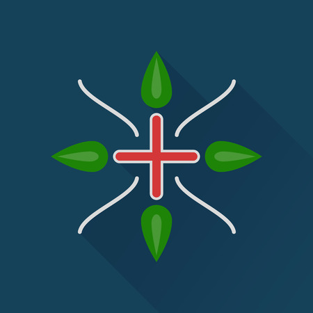 homeopathy: Alternative medecine color icon with cross and leaves .Concept of eco medicines, bio supplements, homeopathy with long shadow effect. Isolated on dark navy background. Flat modern vector illustration