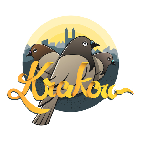 Hand drawed sign Krakow, Cracow. City of doves. Flat design concept