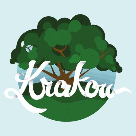 Krakow the city of parks. Flat style vector illustration. Vetores