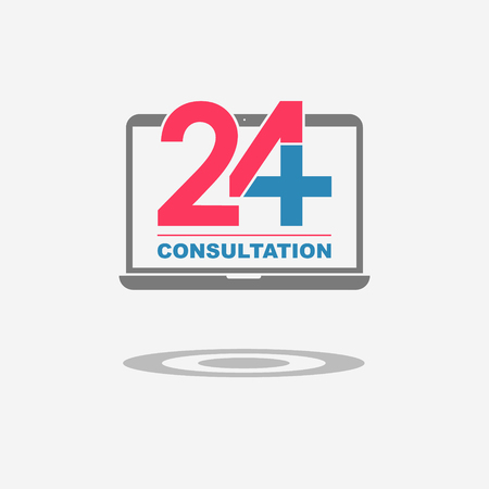 consulta médica: Twenty four available online medical consultation. Laptop. Flat trendy modern vector illustration