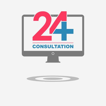 consulta médica: Twenty four available online medical consultation. Computer. Flat trendy modern vector illustration